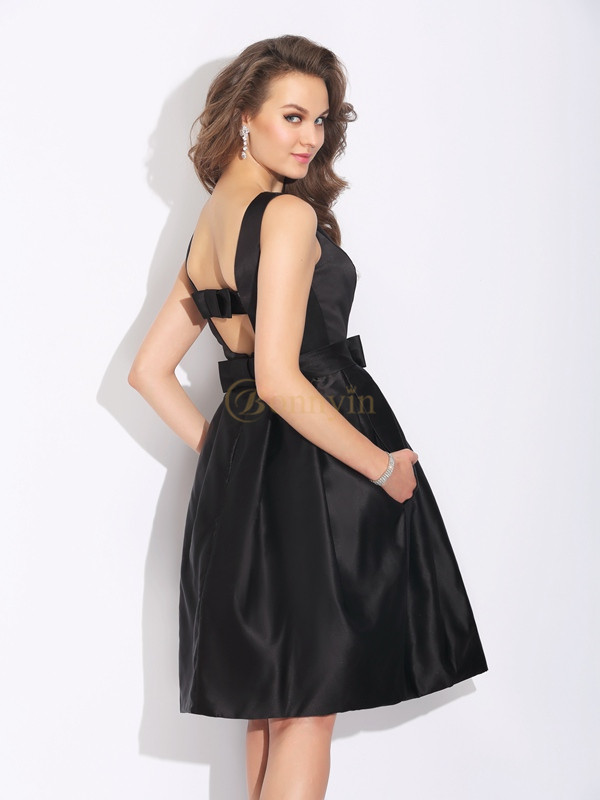 99e8f3421f7 Black Satin Bateau A-Line Princess Short Mini Cocktail Dresses ...