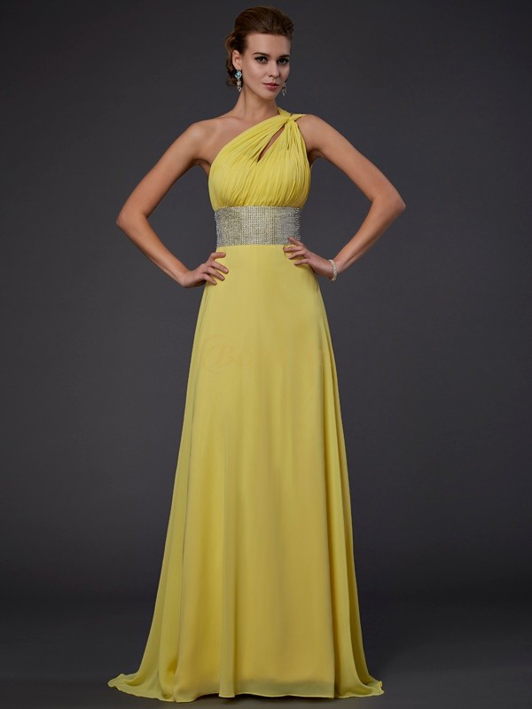 Yellow Chiffon One-Shoulder A-Line/Princess Floor-Length Dresses