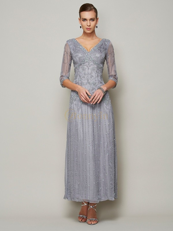 Silver Elastic Woven Satin V-neck Sheath/Column Ankle-Length Mother of the Bride Dresses