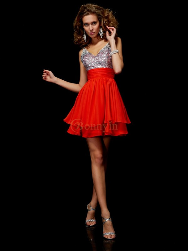 Red Chiffon V-neck Straps A-Line/Princess Short/Mini Cocktail Dresses