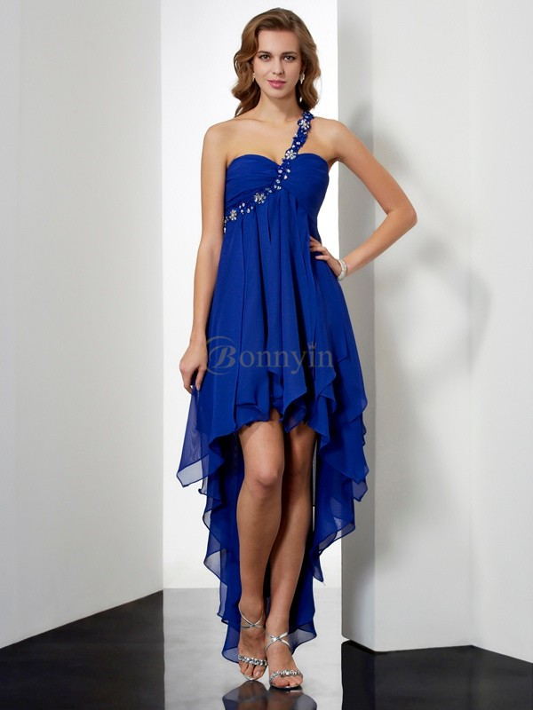 Royal Blue Chiffon One-Shoulder A-Line/Princess Asymmetrical Homecoming Dresses