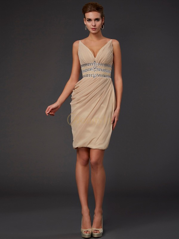 Champagne Chiffon V-neck Sheath/Column Short/Mini Cocktail Dresses
