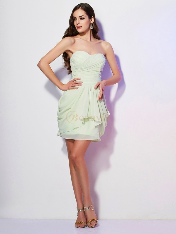 Sage Chiffon Sweetheart A-Line/Princess Short/Mini Dresses