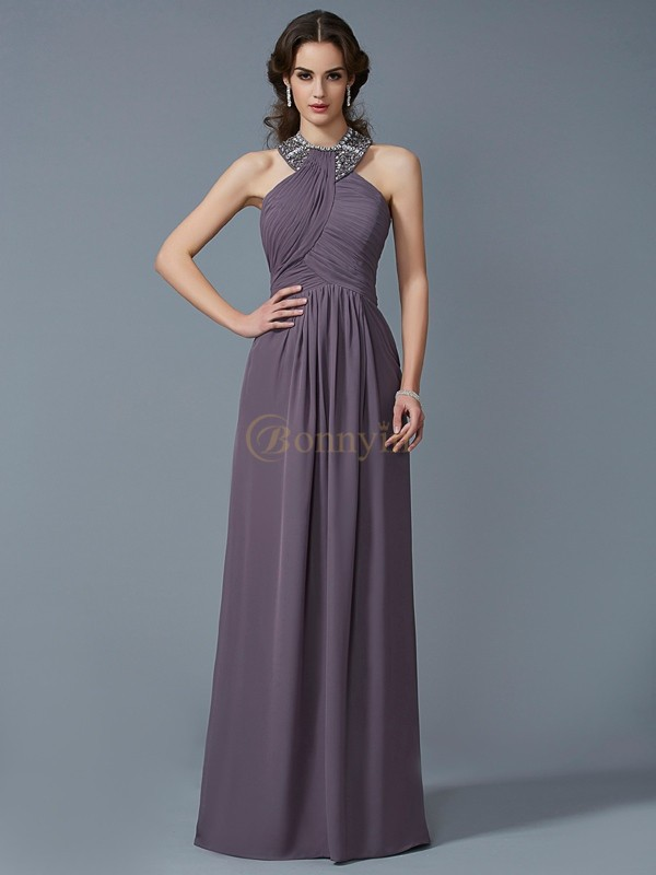 Brown Chiffon High Neck Sheath/Column Floor-Length Dresses