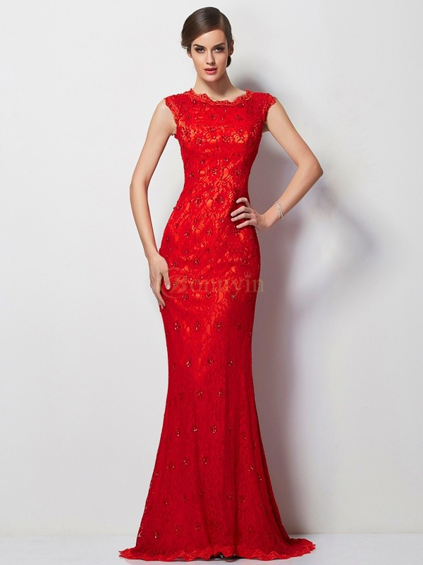 Red Chiffon Scoop A-Line/Princess Sweep/Brush Train Dresses