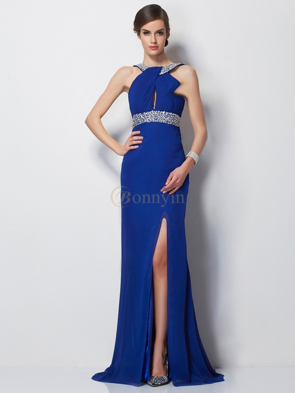 Royal Blue Chiffon High Neck Sheath/Column Sweep/Brush Train Dresses