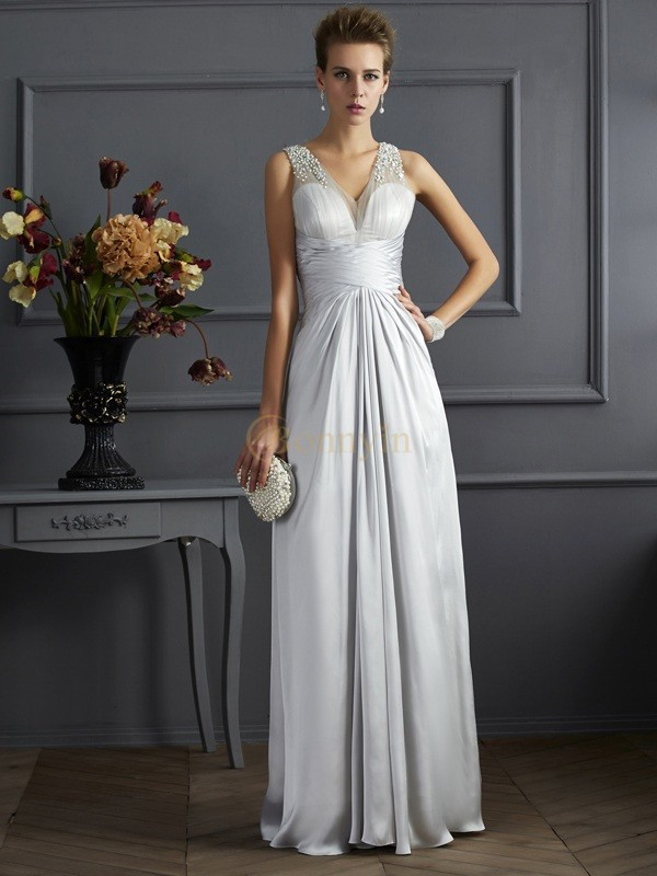 Silver Silk like Satin Straps A-Line/Princess Floor-Length Dresses