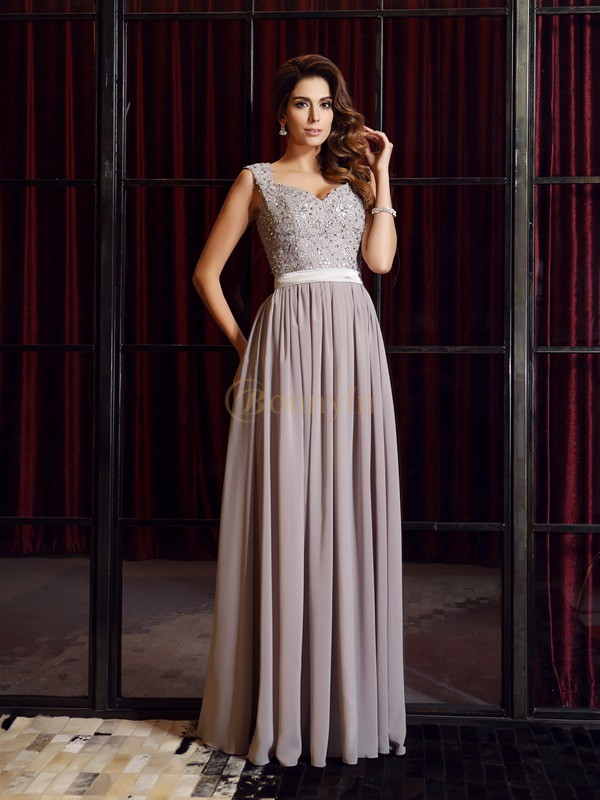 Grey Chiffon Straps A-Line/Princess Floor-Length Dresses