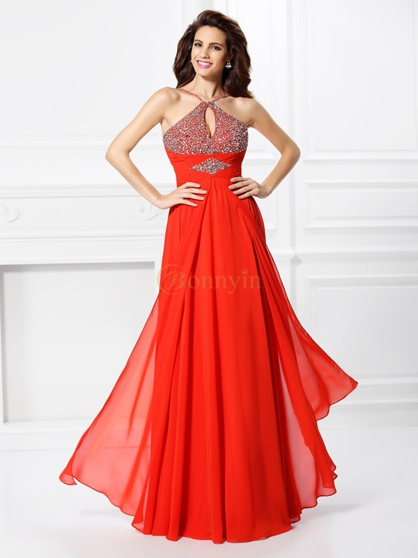 Red Chiffon A-Line/Princess Floor-Length Dresses