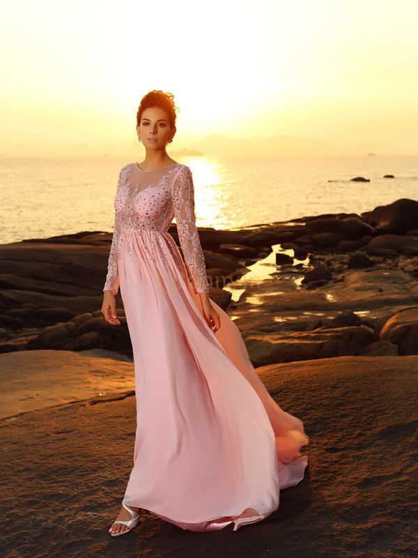 Pink Chiffon Bateau A-Line/Princess Sweep/Brush Train Dresses