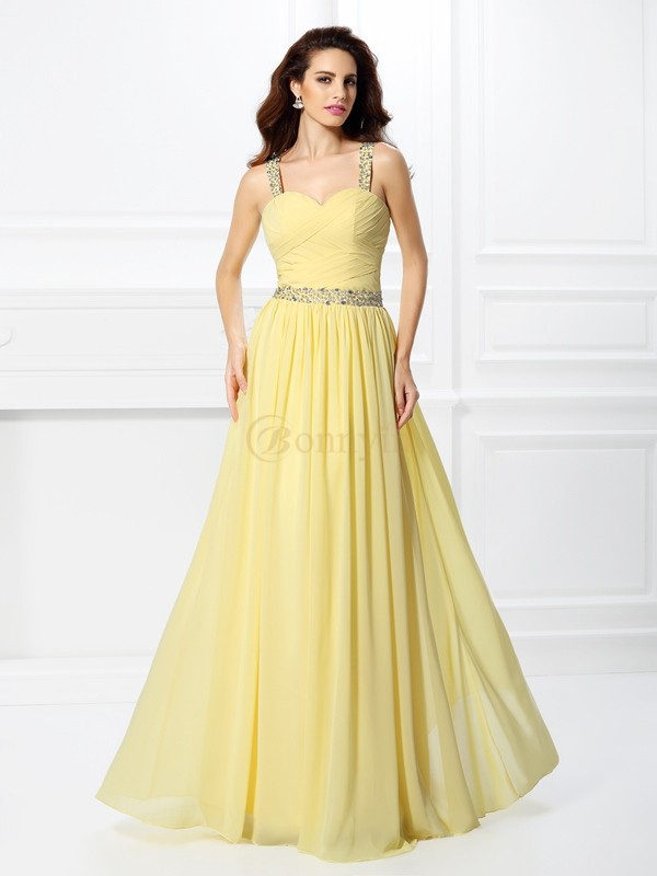 Daffodil Chiffon Sweetheart A-Line/Princess Floor-Length Prom Dresses