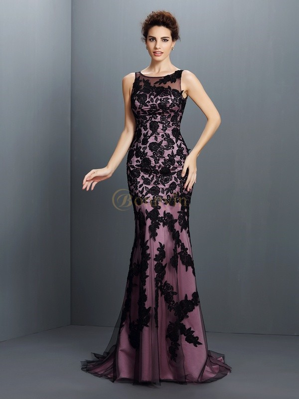 Black Elastic Woven Satin Bateau Trumpet/Mermaid Floor-Length Dresses