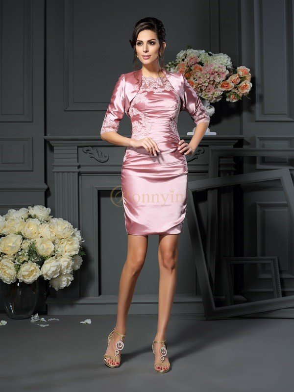 Pearl Pink Elastic Woven Satin Scoop Sheath/Column Short/Mini Mother of the Bride Dresses