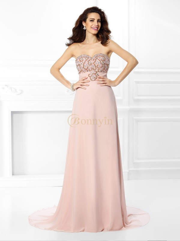 Pearl Pink Chiffon Sweetheart A-Line/Princess Sweep/Brush Train Dresses