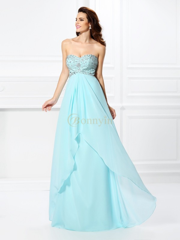 Light Sky Blue Chiffon Sweetheart A-Line/Princess Floor-Length Dresses