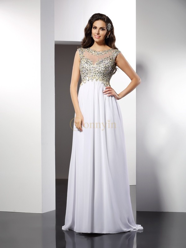 White Chiffon Bateau A-Line/Princess Floor-Length Dresses