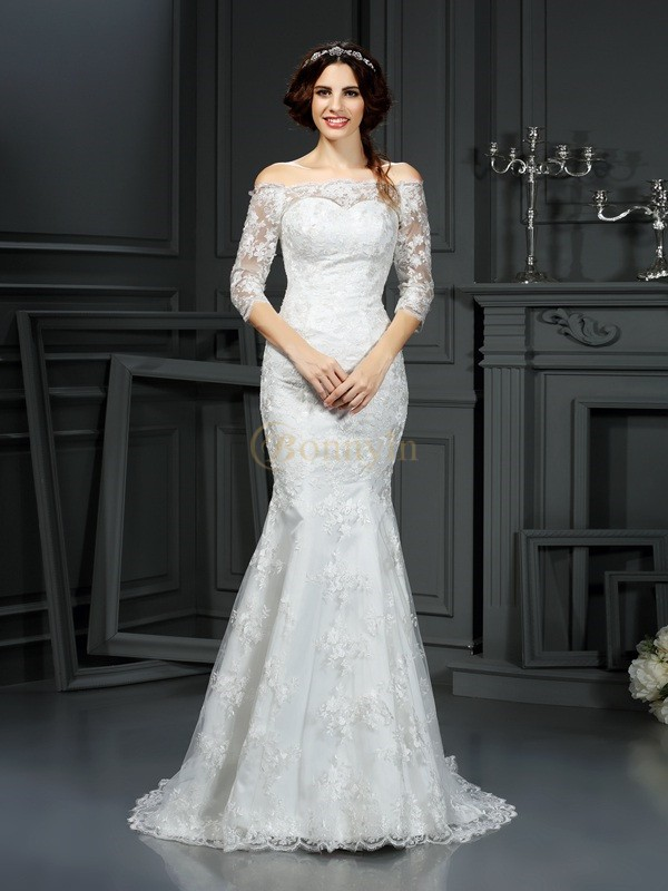 Ivory Lace Off-the-Shoulder Sheath/Column Sweep/Brush Train Wedding Dresses