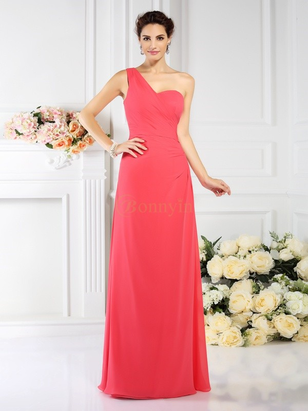 Watermelon Chiffon One-Shoulder A-Line/Princess Floor-Length Bridesmaid Dresses