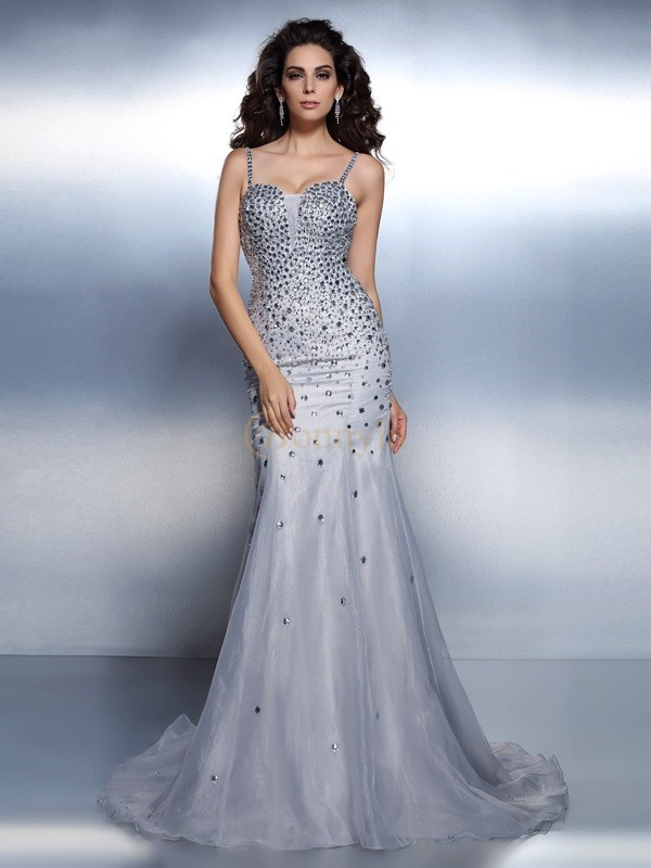 Silver Organza Spaghetti Straps Trumpet/Mermaid Sweep/Brush Train Evening Dresses