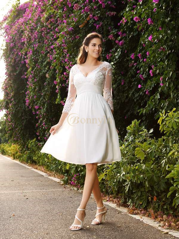Ivory Chiffon V-neck A-Line/Princess Knee-Length Wedding Dresses