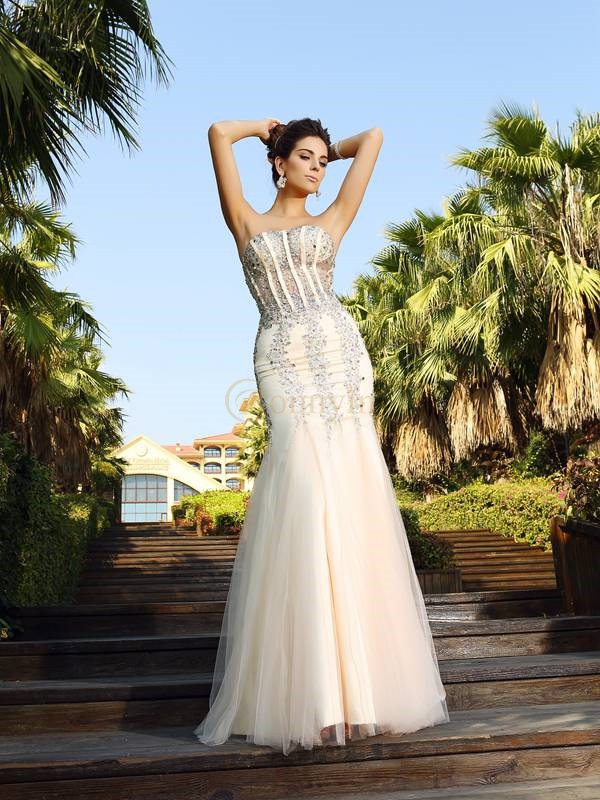 Champagne Satin Strapless Trumpet/Mermaid Floor-Length Dresses