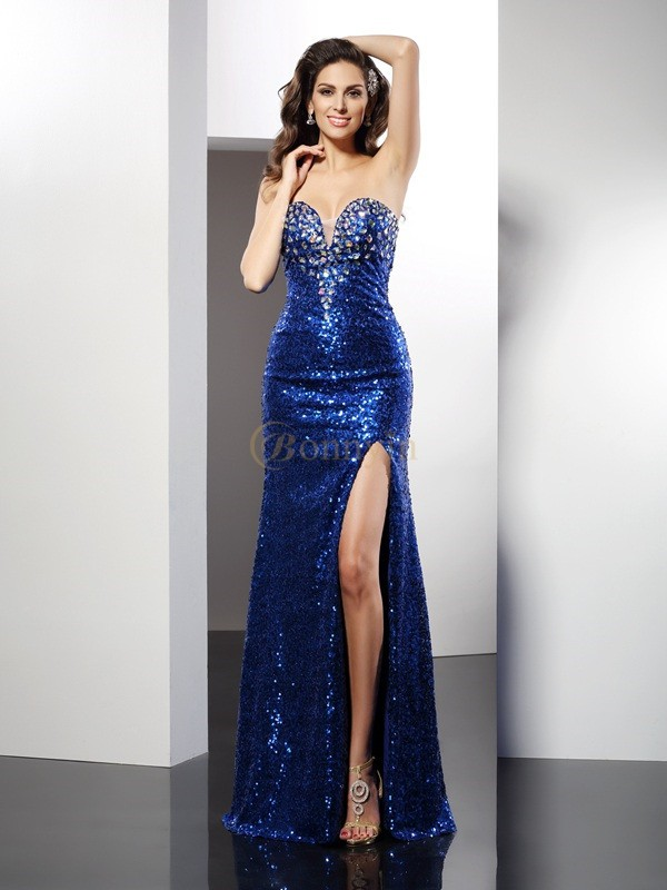 Royal Blue Sequins Sweetheart Sheath/Column Floor-Length Dresses