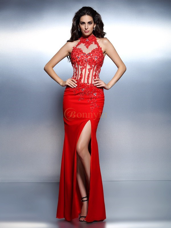 Red Chiffon High Neck Trumpet/Mermaid Floor-Length Dresses