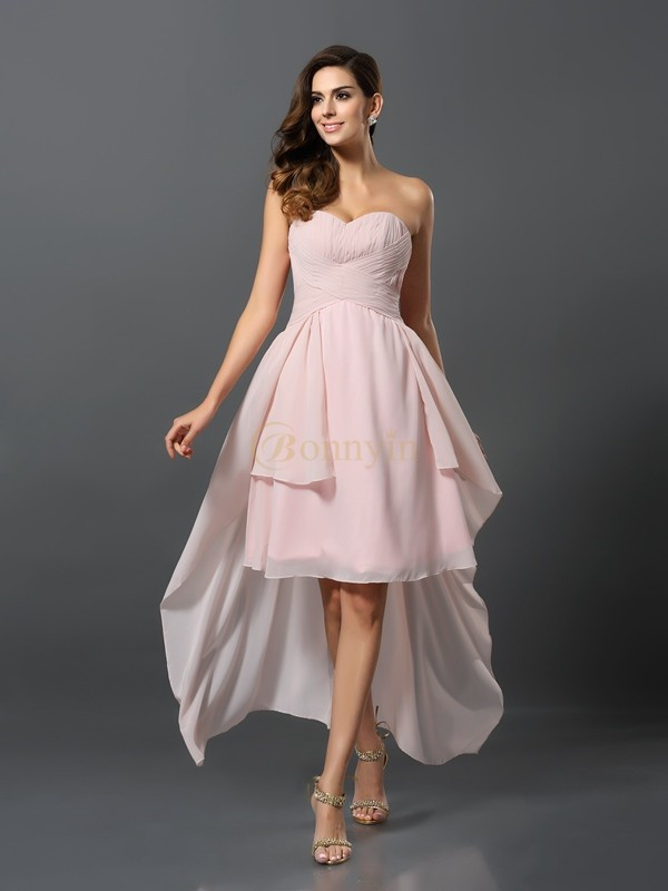 Pink Chiffon Sweetheart A-Line/Princess Asymmetrical Bridesmaid Dresses