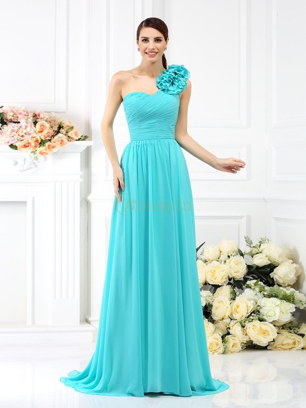 Blue Chiffon One-Shoulder A-Line/Princess Sweep/Brush Train Bridesmaid Dresses