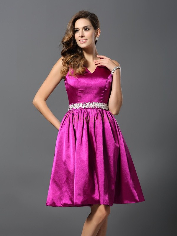Fuchsia Elastic Woven Satin Straps A-Line/Princess Knee-Length Bridesmaid Dresses