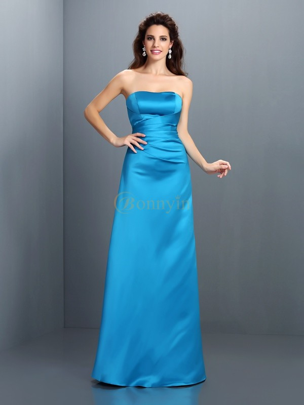 Blue Satin Strapless A-Line/Princess Floor-Length Bridesmaid Dresses