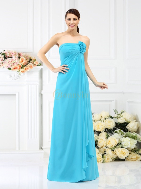 Blue Chiffon Strapless A-Line/Princess Floor-Length Bridesmaid Dresses