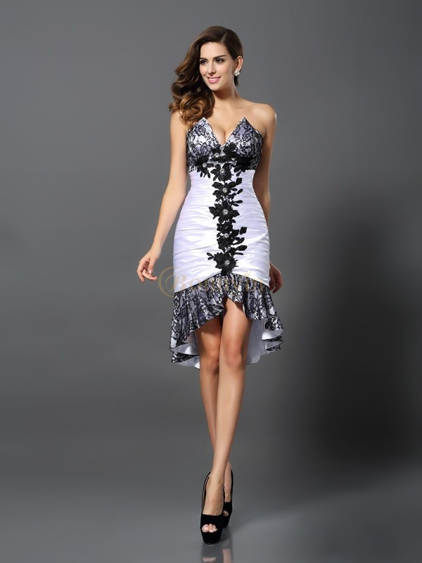 White Elastic Woven Satin Sweetheart Sheath/Column Asymmetrical Dresses
