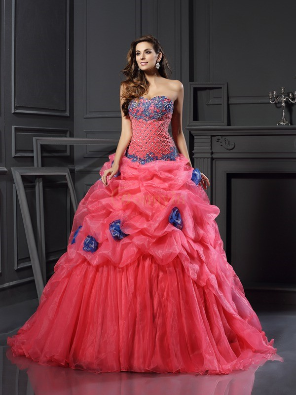 Fuchsia Organza Sweetheart Ball Gown Chapel Train Prom Dresses