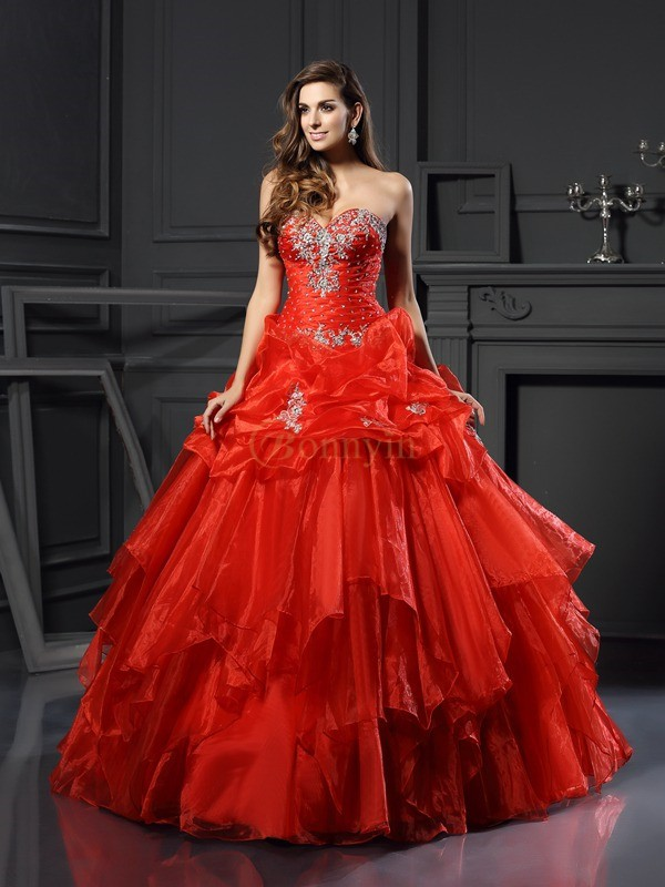 Red Tulle Sweetheart Ball Gown Floor-Length Prom Dresses