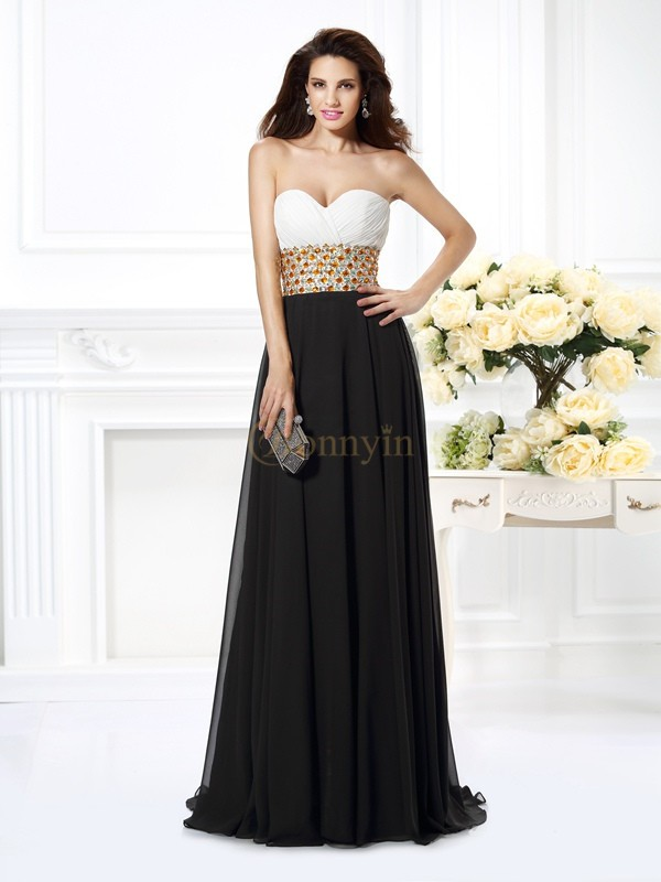 Black Chiffon Sweetheart A-Line/Princess Floor-Length Prom Dresses
