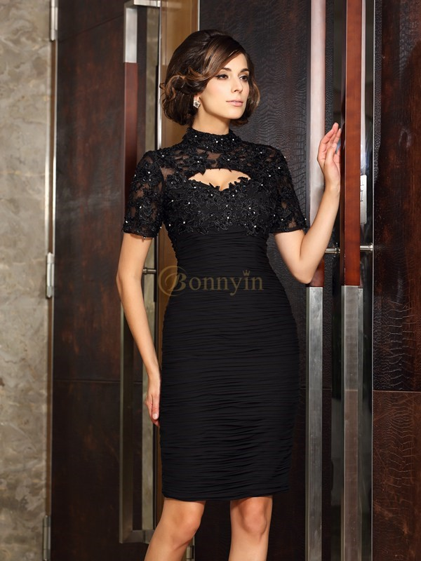 Black Chiffon High Neck Sheath/Column Knee-Length Mother of the Bride Dresses