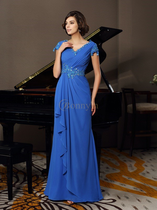 Royal Blue Chiffon V-neck A-Line/Princess Floor-Length Mother of the Bride Dresses