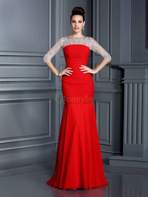 Red Chiffon Scoop Trumpet/Mermaid Floor-Length Dresses