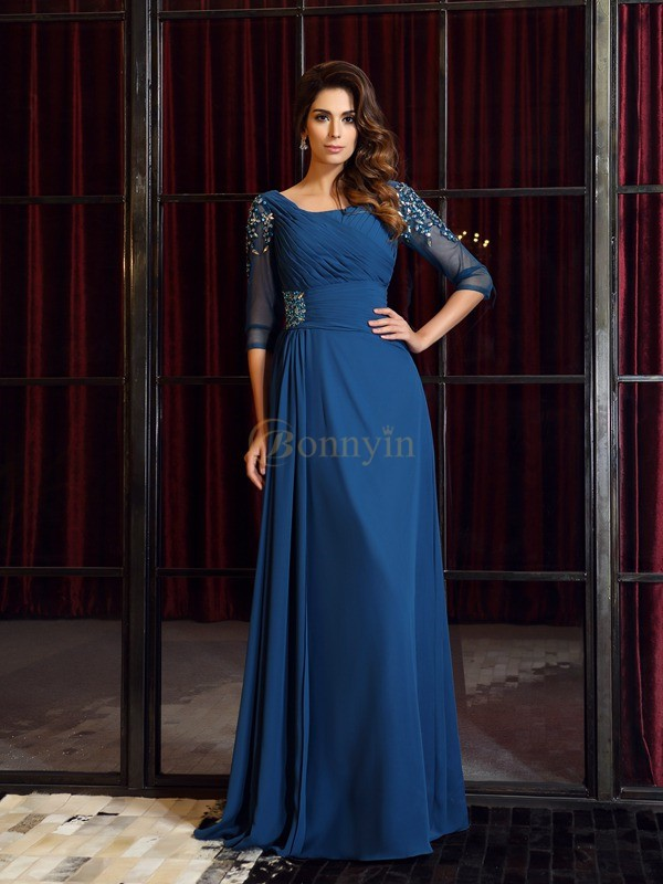 Royal Blue Chiffon Square A-Line/Princess Floor-Length Dresses