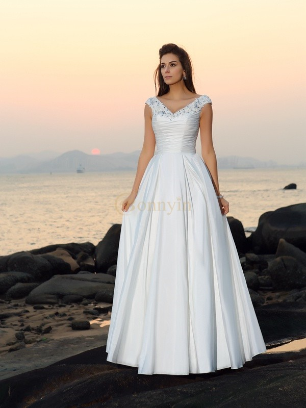 Ivory Taffeta V-neck A-Line/Princess Floor-Length Wedding Dresses