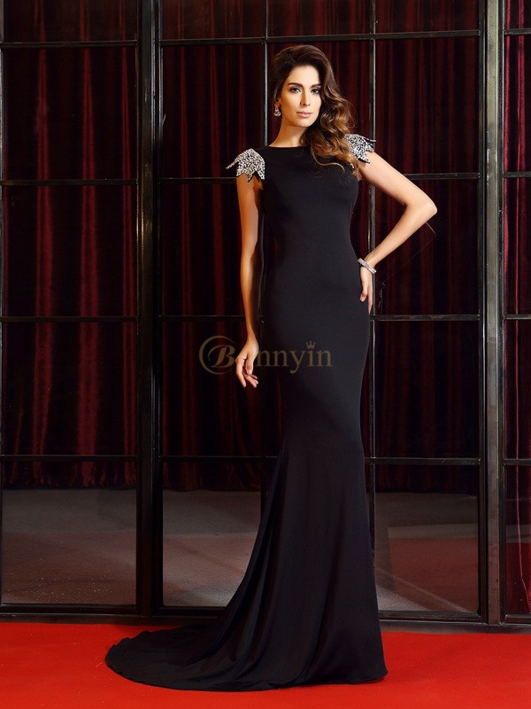 Black Spandex Bateau Trumpet/Mermaid Court Train Dresses
