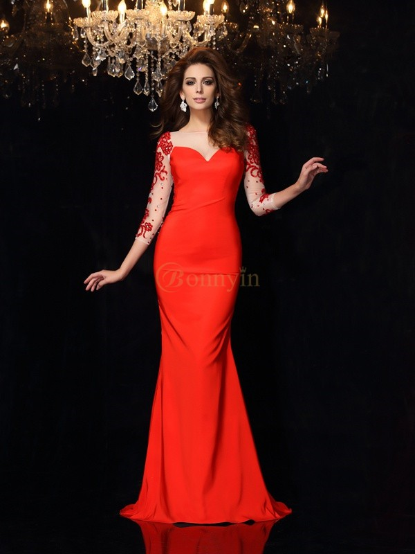 Red Elastic Woven Satin Bateau Trumpet/Mermaid Sweep/Brush Train Dresses