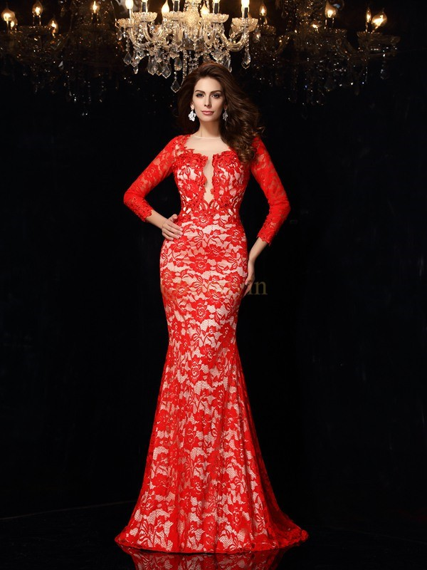 Red Elastic Woven Satin Scoop Sheath/Column Court Train Dresses