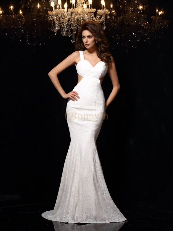 Ivory Lace Straps Trumpet/Mermaid Court Train Dresses