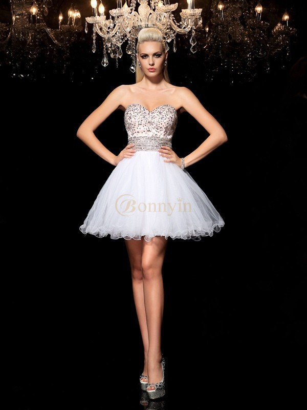 White Net Sweetheart A-Line/Princess Short/Mini Cocktail Dresses