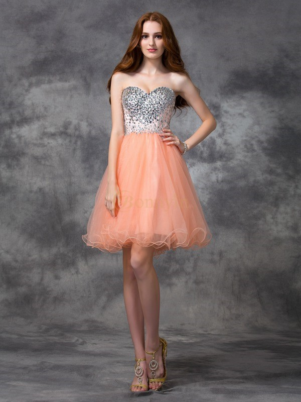 Orange Net Spaghetti Straps A-line/Princess Short/Mini Cocktail Dresses