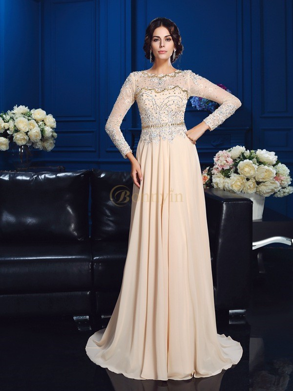 Champagne Chiffon Scoop A-Line/Princess Sweep/Brush Train Mother of the Bride Dresses