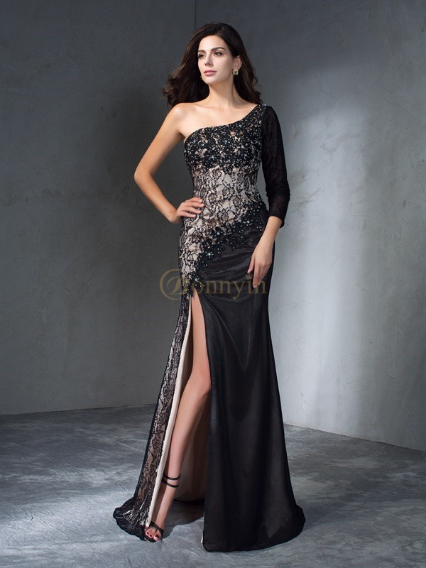 Black Lace One-Shoulder Trumpet/Mermaid Sweep/Brush Train Prom Dresses
