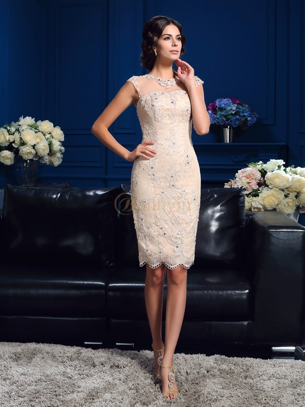 Champagne Lace Sheer Neck Sheath/Column Short/Mini Mother of the Bride Dresses